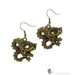 Dragon Earrings, Dragon Pendant Earrings, Antique Bronze Dragon Jewelry