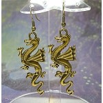 Bronze Dragon Earrings, Large Dragon Jewelry