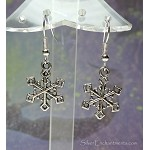 Silver Snowflake Earrings - Everyday Dangling Snowflake Charm Jewelry