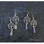 Crystal Tree of Life Earrings, Crystal Clear or Amethyst Dangle Earrings, World Tree / Gaia / Ygddrissl - Everyday Silver Spiritual Jewelry
