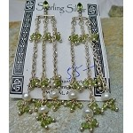Pearls and Peridot Chain Sterling Silver Swag Chandelier Gemstone Earrings