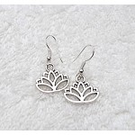 Silver Lotus Earrings, Lotus Flower Earrings - Everyday Spiritual Jewelry