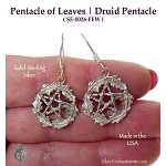 Sterling Silver Woodland Pentacle Earrings, Druidic Pentagram Earrings, Pagan Jewelry, Druid Jewelr