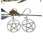 Sterling Silver Pentacle Earrings, Classic Interwoven Pentagram Earrings