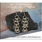 Dangling Chainmail Earrings, Solid Sterling Silver Chainmaille Cascade Chandelier Earrings - Made with Twisted Rings