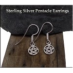 Pentacle Earrings, Sterling Silver Pentacle Charm Earrings