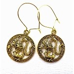 Golden Dragon Earrings - Everyday Fantasy Dangle Earrings
