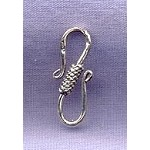 Sterling Silver S-Hook Clasps with Wrapped Center Coil Detail, 22mm (1)