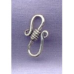 Sterling Silver S-Hook Clasps with Coil Detail, 17mm (1)