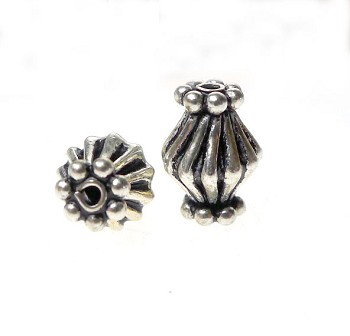 Sterling Silver Fancy Bicone Beads (2)