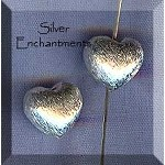 Sterling Silver Heart Beads, 10x10x8mm Puff (2)