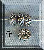 Sterling Silver Blossom Rondelle Spacer Beads, 5mm (2)
