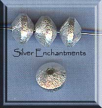 Brushed Sterling Silver 8mm Saucer Rondelle Spacer Bead