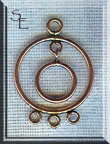 Copper Circle-in-Circle Chandelier Earring Findings, PAIR 2-pc