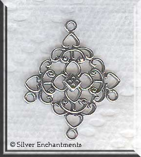 Sterling Silver Filigree Diamond Chandelier Earring Parts, PAIR 2pc