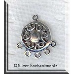 Sterling Silver Scroll Sun Chandelier Earring Parts, Pair