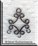 Sterling Silver Filigree Scroll Chandelier Earring Parts, Pair
