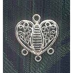 Sterling Silver Ornate Filigree Heart Chandelier Earring Finding