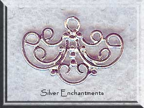 Sterling Silver Candelabra Findings, Chandelier Earring Parts, PAIR 2-pc