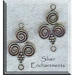 Sterling Silver Spiral Chandelier Earring Finding or Jewelry Link