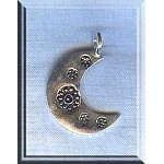 Sterling Silver Bailed Moon Charm Pendant 22x15mm