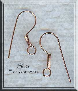 Solid Copper Earwires with Coil, Copper Earring Hooks (10)
