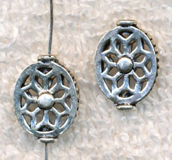 Sterling Silver Filigree Beads, 15x11mm (2)