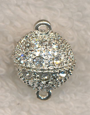 Rhodium Plated Magnetic Clasp with Crystal Rhinestones
