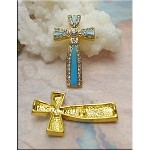 Enameled Cross Jewelry Connector with Crystals, Turquoise-Gold, Ornate