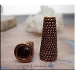 Solid Copper Jewelry Cone with Coil Detail, 7mm Opening