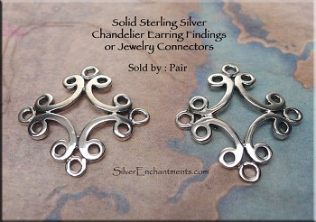 Sterling Silver Scroll Chandelier Earring Findings or Jewelry Connectors, PAIR 2-pc