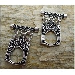 Sterling Silver Toggle Clasp, Ornate Double-Sided Triple-strand
