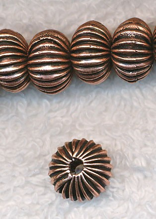 Copper Crimped Rondelle Spacer Bead, 7x11mm