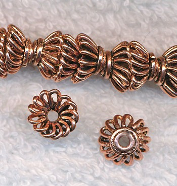 Solid Copper Swirl Bead Caps 10mm Copper Beadcaps (10)