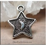 Silver Plated Moon in Star Charm