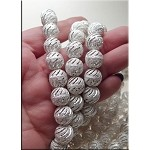 Sterling Silver Plated 12mm Stardust Bead with Swirled Slits (1)