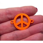Enameled Orange Peace Sign Connector 32x23mm Jewelry Finding