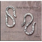 Sterling Silver S-Hook Clasp with Pattern, 15mm