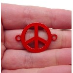Enameled Red Peace Sign Connector 32x23mm Jewelry Finding