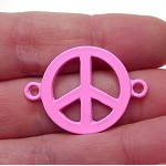 Enameled Pink Peace Sign Connector 32x23mm Jewelry Finding