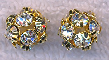 10mm Gold Plated Rhinestone Crystal Ball Bead