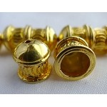 Fancy Crimp Pattern Jewelry End Caps with 7mm Opening, Karat Gold Plated (2)