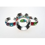 Large Hole Multicolored Rhinestone Crystal Spacer Bead