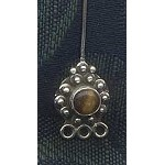 Sterling Silver and Tiger Eye Designer Gemstone Head Pin