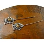 Tiger's Eye Headpins, Sterling Silver and Tiger Eye Jewelry Headpins, Gemstone Head Pins (2)