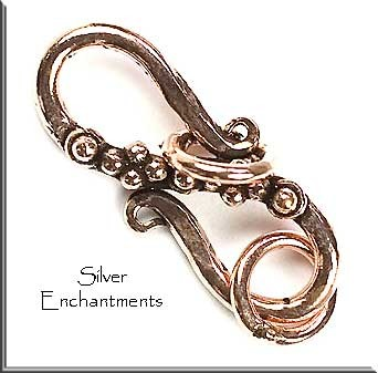 Copper Fancy S-Hook Jewelry Clasp with Rings