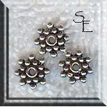 Sterling Silver 8mm Snowflake Jewelry Spacers, Precious Metal Beads (1)