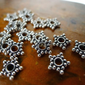 8mm Sterling Silver Star Jewelry Spacers with 2.2mm Hole (10)
