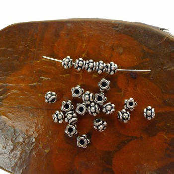 Sterling Silver 6mm Dotted Chunky Spacers with 2mm Hole (10)