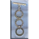Sterling Silver Hammered 3-Ring Toggle Clasp, Expansion Jewelry Toggle Clasp